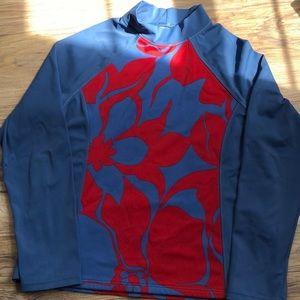 Lands End Kids Blue/Red Floral Rash Guard 10/12